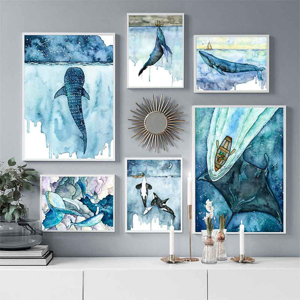 Fantasy Whale Prints Collection on grey wall
