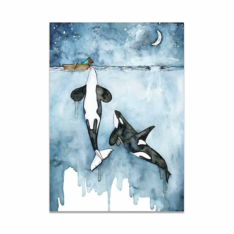 Touching Orcas Print Canvas