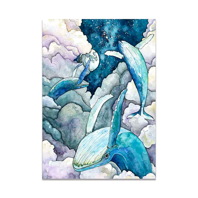 Whales in Clouds at Night Canvas Print