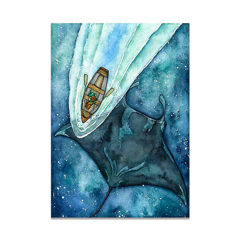 Canvas print of an Oceanic Manta Ray swimming below a boat