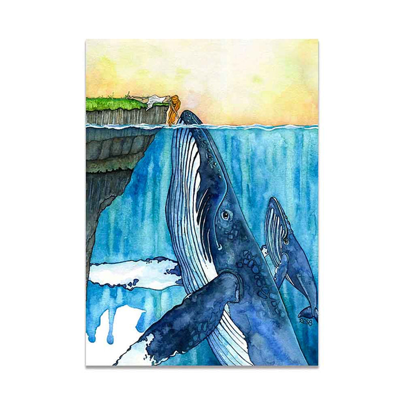 Printed canvas of woman touching Humpback Whales