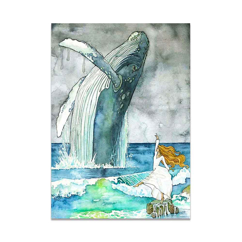 Woman posing next to a Breaching Humpback Whale Canvas print