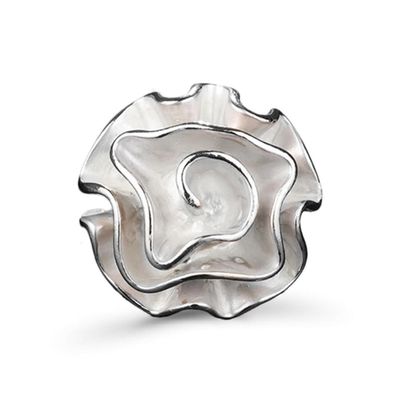 Top view of silver coral ring
