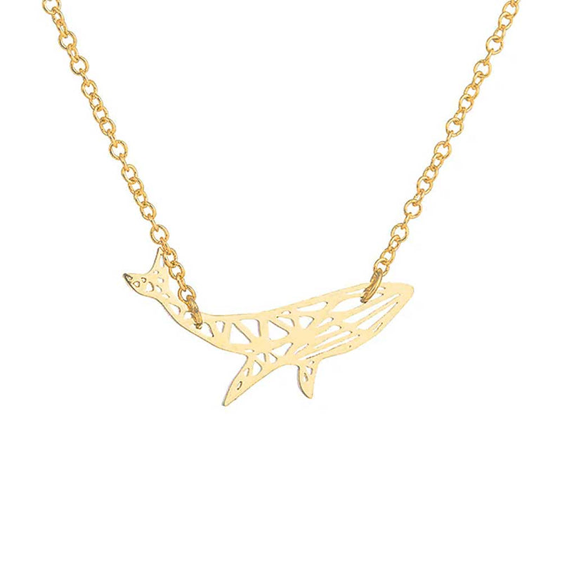 Geometric Gold Humpback Whale Necklace