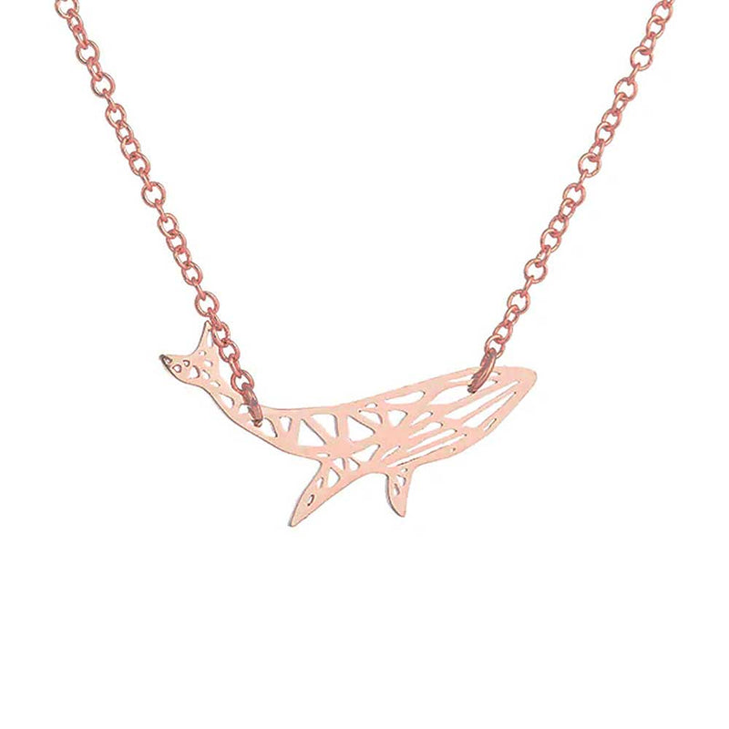 Geometric Rose Gold Humpback Whale Necklace