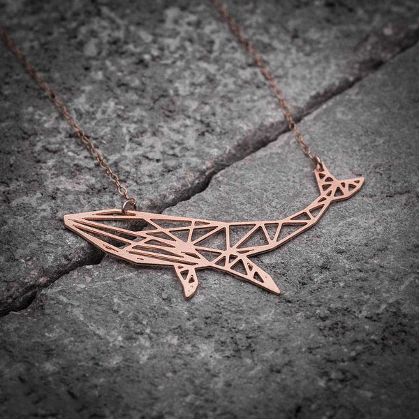 Rose Gold Whale Pendant Flat Lay