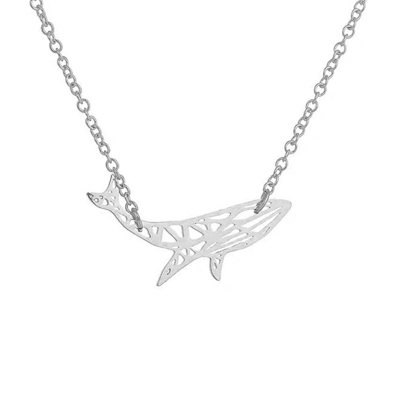 Geometric Silver Humpback Whale Necklace
