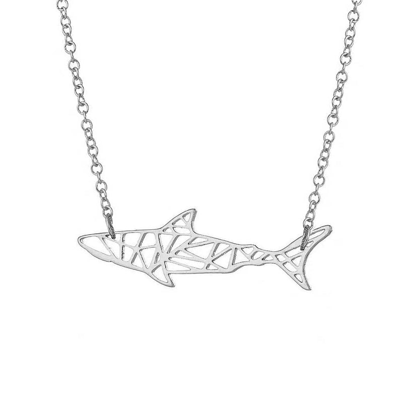 Geometric Silver Shark Necklace