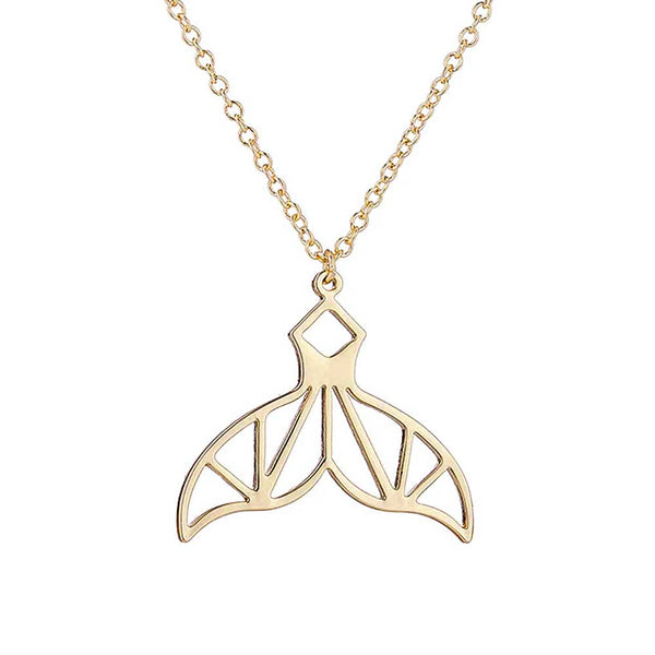 Geometric Gold Whale Tail Necklace