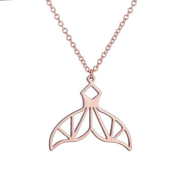 Geometric Rose Gold Whale Tail Necklace