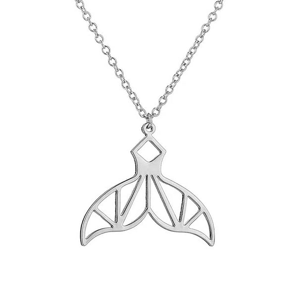 Geometric Silver Whale Tail Necklace