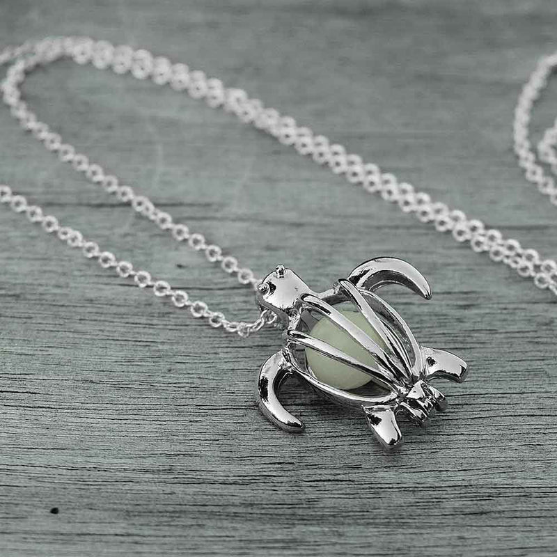 Silver Turtle Necklace lying flat