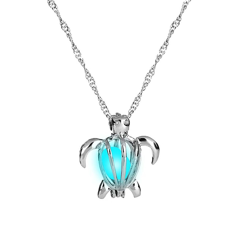 Glow in the Dark Turtle Necklace in Luminous Cyan