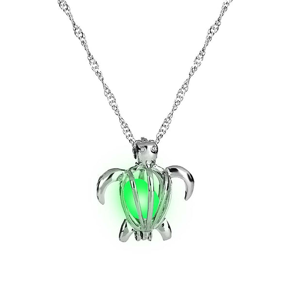 Glow in the Dark Turtle Necklace in Luminous Green