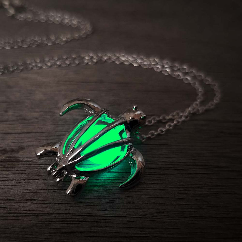Green glow in the dark turtle necklace
