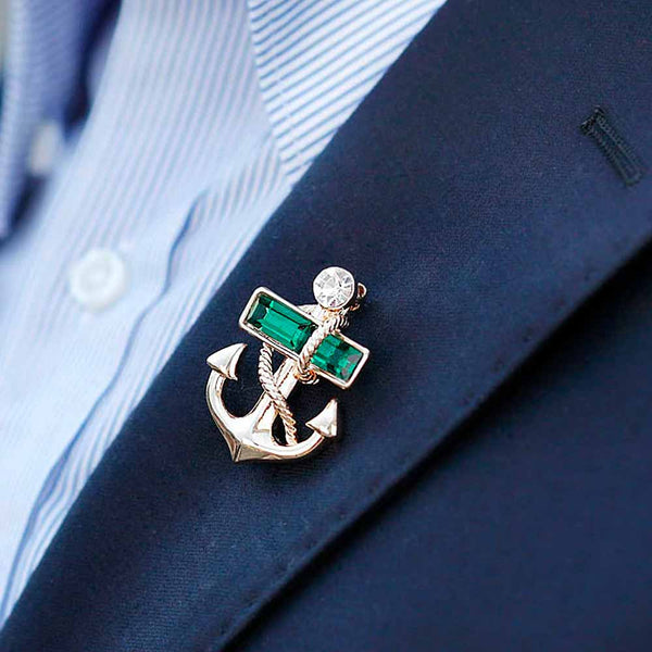 Anchor Brooch in Gold on Lapel