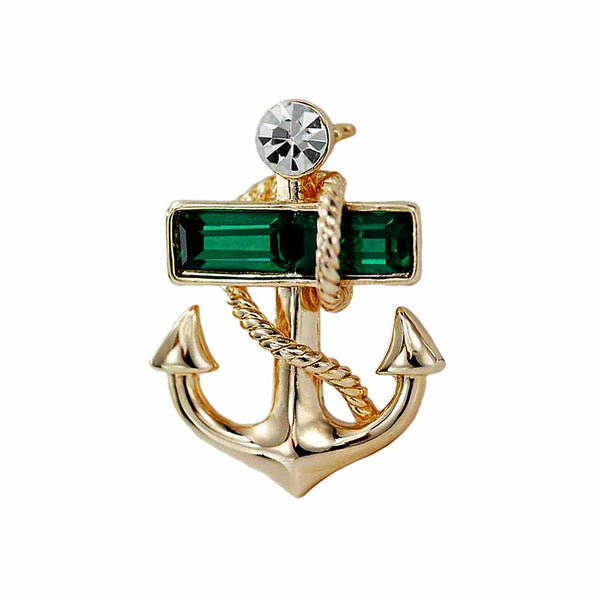 Gold Anchor Brooch with Emerald Crystal