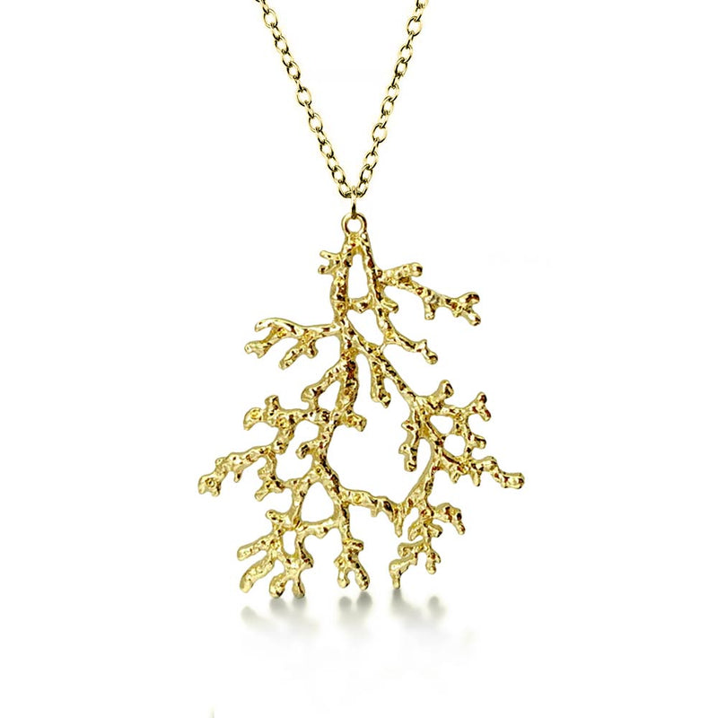 Gold Coral Necklace on White background