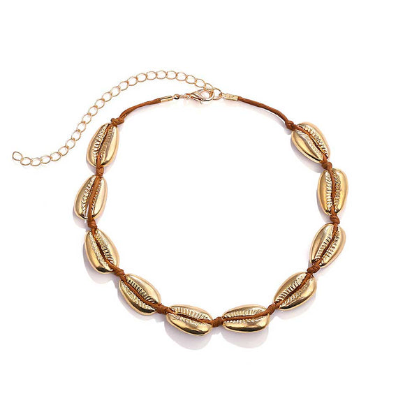 Gold Cowrie Shell Necklace on Brown Cord