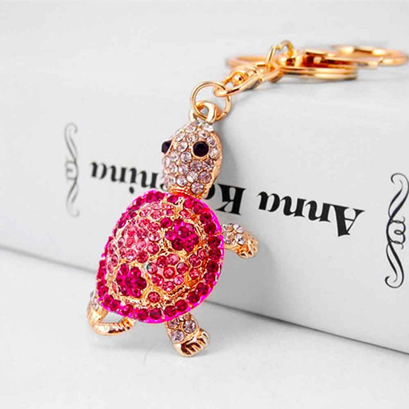 Pink and Gold Turtle Keychain