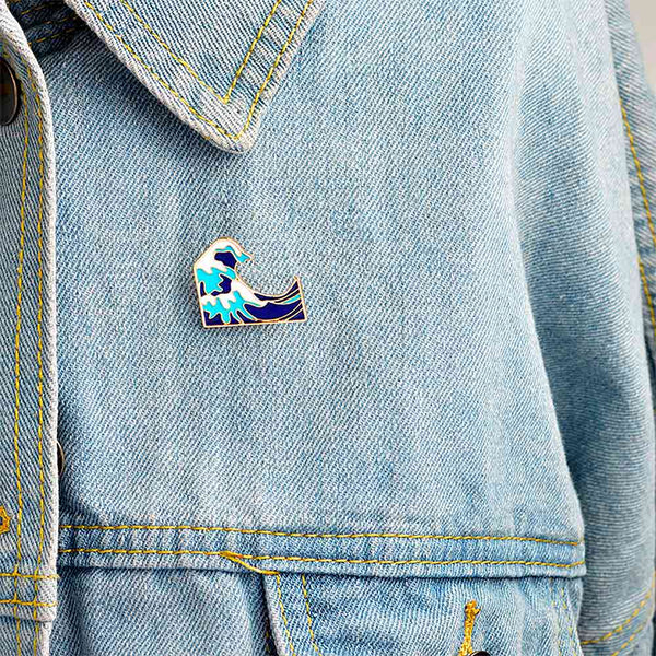Japanese Wave Pin on Denim Jacket