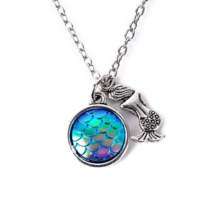 Blue Holographic Fish Scale Mermaid Necklace