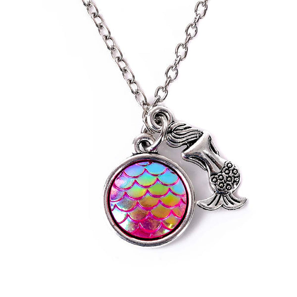 Pink Holographic Fish Scale Mermaid Necklace