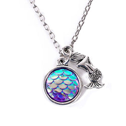 Purple Holographic Fish Scale Mermaid Necklace