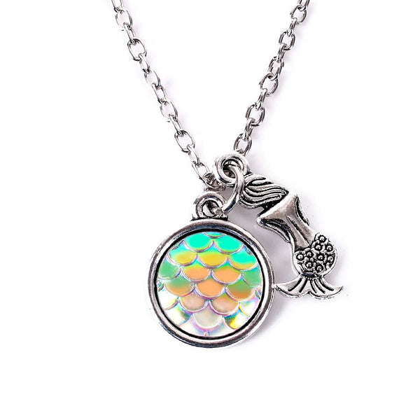 White Holographic Fish Scale Mermaid Necklace