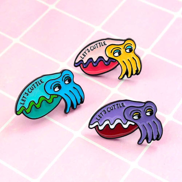'Lets Cuttle' Cuttlefish Brooch Pins