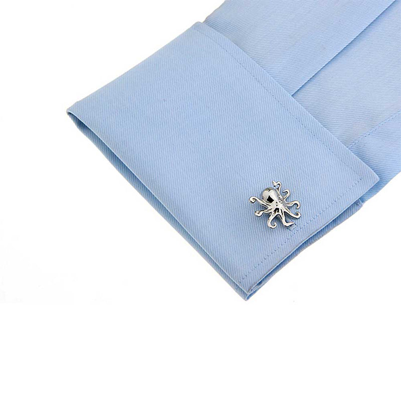 Single Octopus Cufflink in silver on sleeve