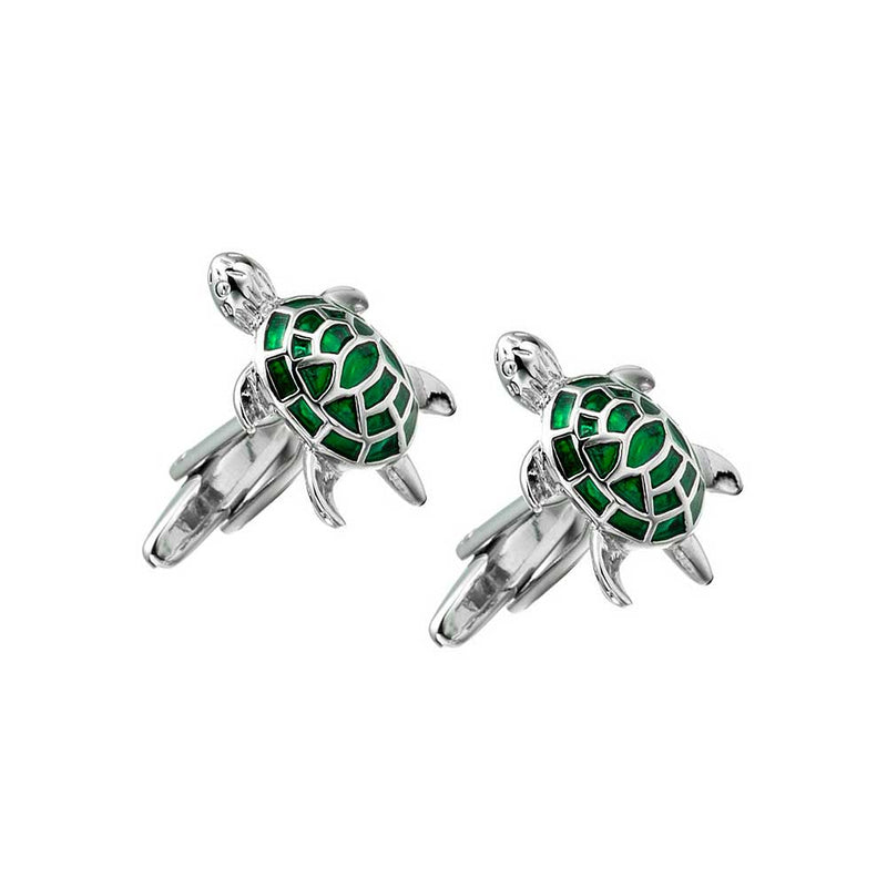 Mens Green Sea Turtle Cufflinks