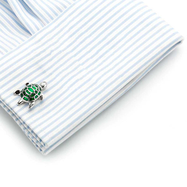 Mens Green Turtle Cufflinks on sleeve