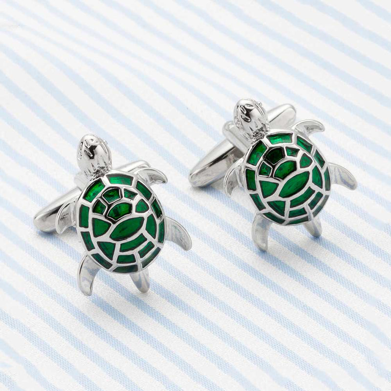 Cute Green and Silver Turtle Cufflinks