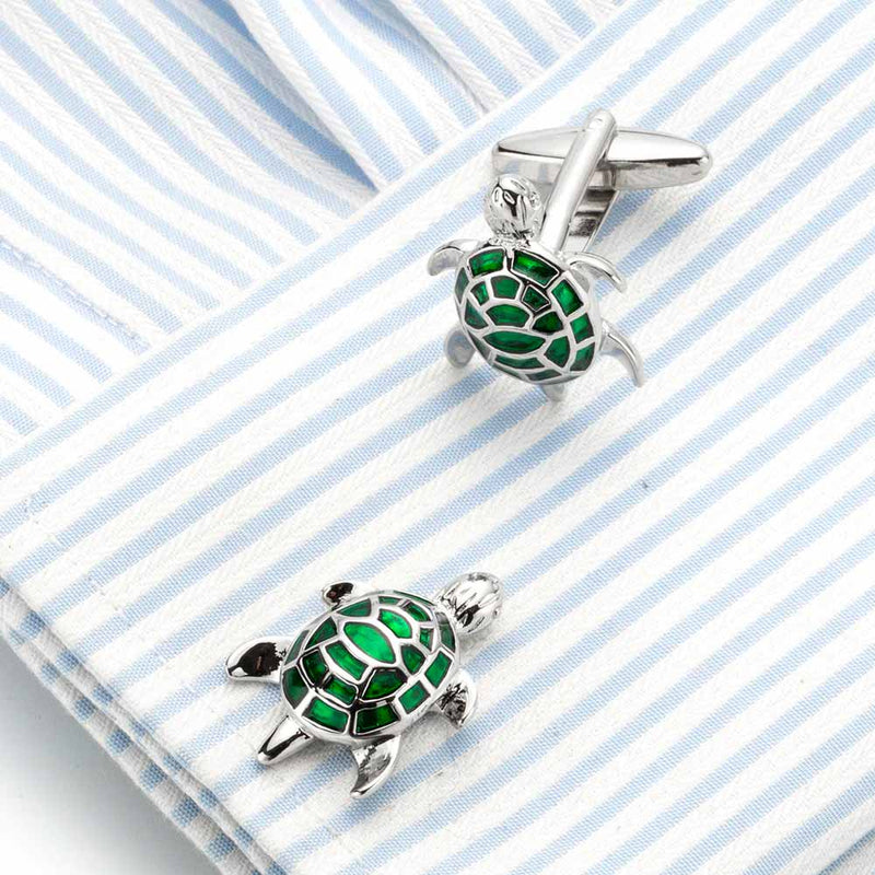Silver Sea Turtle Cufflinks with Green Enamel
