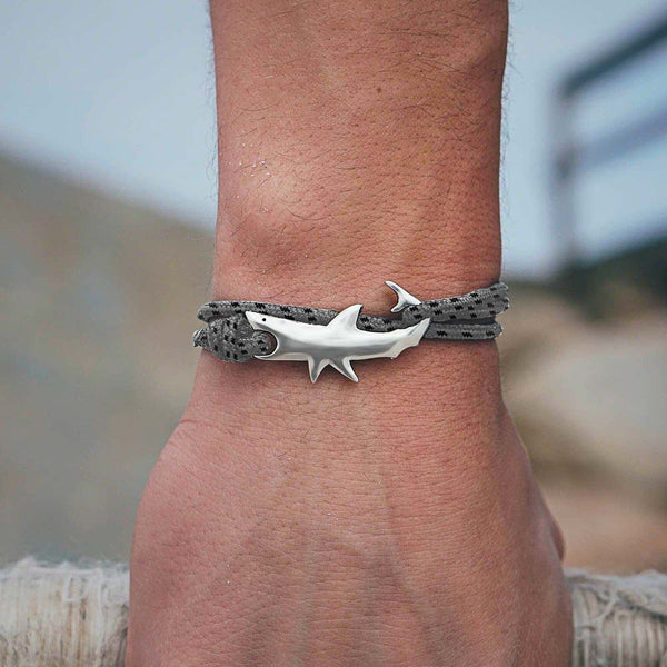 Silver Shark Bracelet in Grey rope on mens wrist