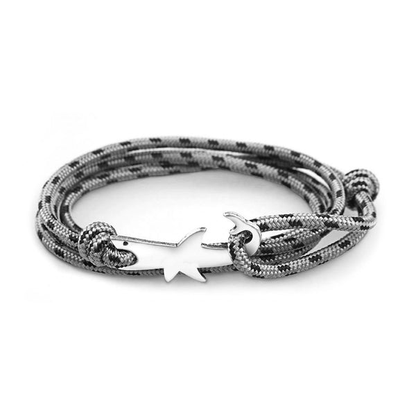 Great White Shark Bracelet with Grey rope