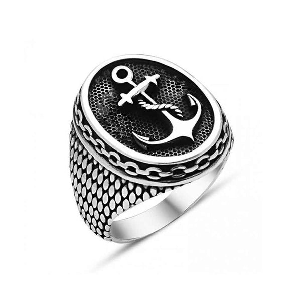 Mens Silver Anchor Ring