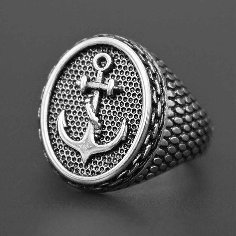 Mens Silver Sovereign Anchor Ring