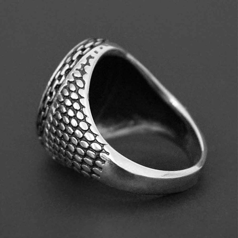 Side view of Silver Sovereign Ring for Men
