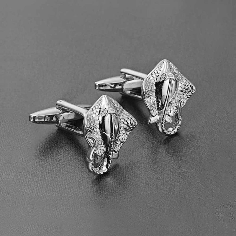 Mens Sting Ray Cufflinks in Silver