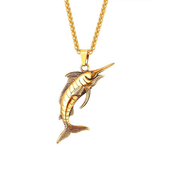 Mens Gold Marlin Swordfish Necklace