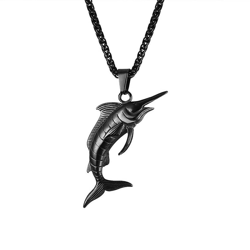 Mens Black Marlin Swordfish Necklace