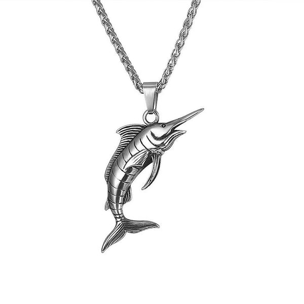 Mens Silver Marlin Swordfish Necklace
