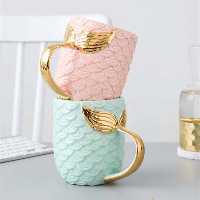 Cute stack of Mermaid Mugs in Pink and Green