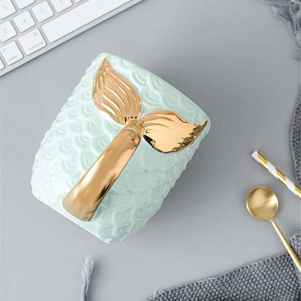 Gold Mermaid Tail Coffee Mug