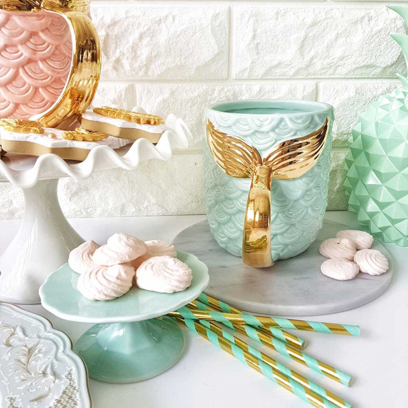 Green and Gold Mermaid Tail Cup in kitchen
