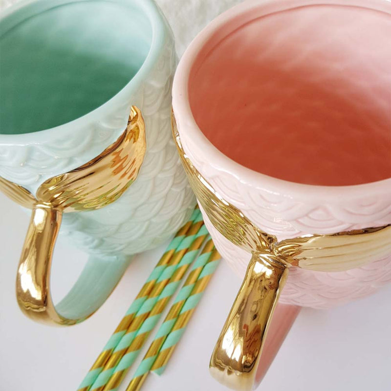 Set of Mermaid Coffee Mugs in Green and Pink