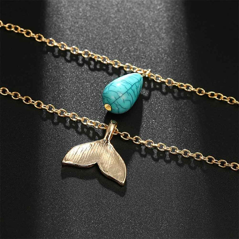 Double gold chain necklace with Turquoise Charm and Mermaid tail Pendant