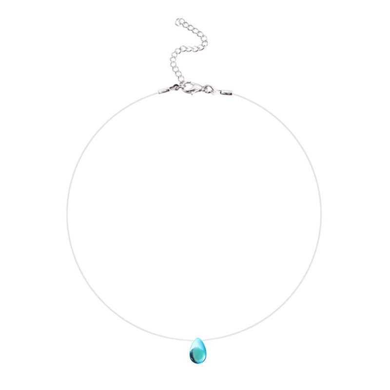Blue tear shaped pendant and fishing line necklace